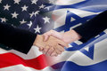 People handshake with the american and israel flags Royalty Free Stock Photo