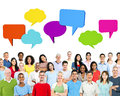 People Happiness With Speech Bubbles Royalty Free Stock Photo