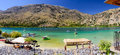 People have a rest at Kournas lake on Crete island, Greece Royalty Free Stock Photo