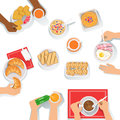 People Having Breakfast Morning Meal Together With Different Sets Of Drinks And Food Cartoon Illustration.