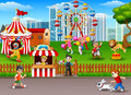 People having fun at the amusement park