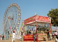 People are having fun at amusement park during traditional camel mela in Pushkar Royalty Free Stock Image