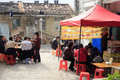 People having lunch outdoor in old town amoy city china Stock Photo