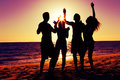 People having party at beach with drinks two couples on the a drinking and a lot of fun in the sunset only silhouette of to be Royalty Free Stock Photography