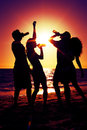 People having party at beach with drinks two couples on the a drinking and a lot of fun in the sunset only silhouette of to be Stock Image