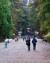 People head toward Toshogu Shrine Royalty Free Stock Photo
