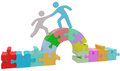 People help bridge puzzle solution join together to solve problem Stock Photography