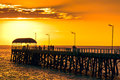 People on Henley Beach Jetty at sunset Royalty Free Stock Photo
