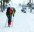 People hiking on snow trail in winter Royalty Free Stock Photo