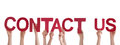 People holding contact us many the words isolated Royalty Free Stock Images