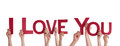 People holding i love you many the red letters isolated Stock Image
