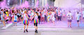 People at the Holi Color Run Party in the streets Royalty Free Stock Photo