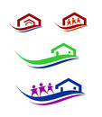 People and home logo set collection of construction improvement related business Stock Photos