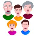 People horror faces vector extremely surprised young shock portrait frightened character emotions afraid expression