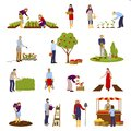 People And Horticulture Set Royalty Free Stock Photo