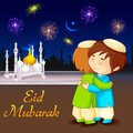 People hugging and wishing eid mubarak vector illustration of Royalty Free Stock Photos