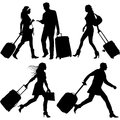 People in a hurry vector silhouettes on airport Stock Photography