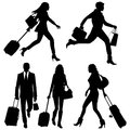 People in a hurry vector silhouettes on airport d Royalty Free Stock Photography