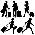 People in a hurry vector silhouettes on airport or station Stock Photography