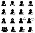 People icon set on black and white Stock Image