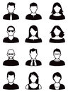 People icon set a series of icons in silhouette and profile men and women Royalty Free Stock Photography