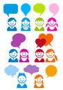 People icon set vector with speech bubbles design elements communication concept Stock Photography