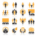 People icons collection of orange and black over white background Stock Image