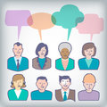 People Icons with Colorful Dialog Speech Balloons Royalty Free Stock Photo