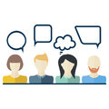 People icons with dialog speech bubbles. Flat design Royalty Free Stock Photo