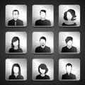 People icons metal with silhouettes of colleagues Royalty Free Stock Photo