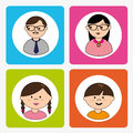 People icons over white background vector illustration Royalty Free Stock Photo