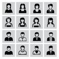 People icons vector black set on gray Stock Photography
