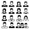 People icons vector black set on white Stock Photo