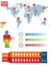 People infographic human illustration world map and information graphics great for web print or presentation Stock Photography