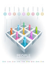 People information cubes infographic template elements are layered separately in vector file Stock Image