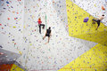 People involved in climbing in a climbing gym moscow dec bigwall on savelovskaya on december moscow russia Stock Image