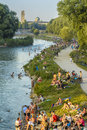 People on Isar river, Munich, Germany Royalty Free Stock Photo