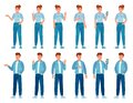 People in jeans gesture. Happy standing woman and man in casual denim shirts and pants showing gestures. Teenager Royalty Free Stock Photo