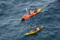 People kyaking in the adriatic sea croatia near dubrovnik sept together Royalty Free Stock Image
