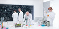 People laboratory analysis general view of four in a chemistry lab conducting experiments and analyzing formulas on a blackboard Stock Photo