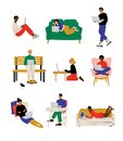 People with with Laptop Set, Young Men and Woman Working or Relaxing Using Computer Vector Illustration