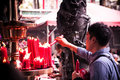 People lighted candles at Lungshan Temple of Manka, Taipei, Taiw