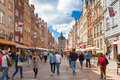 People on the Long Lane of the old town in Gdansk, Poland. Royalty Free Stock Photo