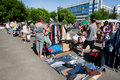 People looking for second hand jeans kiev ukraine and used items on the open air flea market at sunny morning kiev the th largest Stock Photos