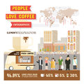 People love coffee infographics, Design character cartoon and elements of coffee lover vector illustration.