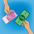 People make barter two changing money replacement and exchange concept Stock Photo