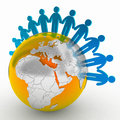People making a ring of peace around the world Royalty Free Stock Photo