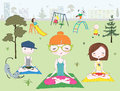 People making yoga in park near children s playground illustration of cartoon vector Royalty Free Stock Photography