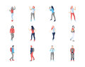 People, male, female, in different casual poses