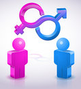 People male and woman synbols two d characters female gender symbols icon concept background Stock Photo